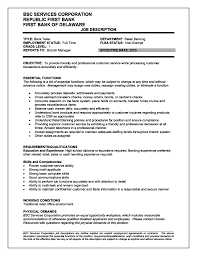 Teller Description For Resume Resume Awesome Bank Job Picture