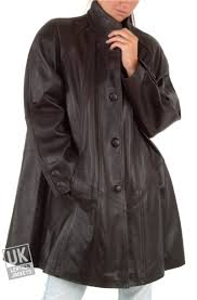 women s leather swing coat plus size black or brown delia