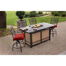 bar height dining table with fire pit
