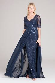Lace Gown With Chiffon Overlay Skirt
