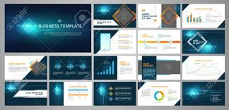 Bos Chart Template Vector Business Template Set Blue Abstract Banner Presentation