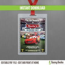 disney cars lightning mcqueen birthday invitation cars lightning mcqueen and mater vip pass birthday invitation