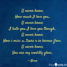 How Much I Love You Quotes Mesmerizing U Never Know How Much I Quotes Writings By Nidhi Kulkarni