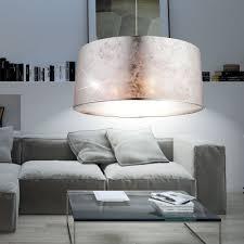 Design Hänge Leuchte Wohnzimmer Stoff Pendel Lampe Rund