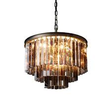 rh 1920s odeon clear glass fringe round 3 tier chandelier design by restoration hardware lighting design on dezignlover com