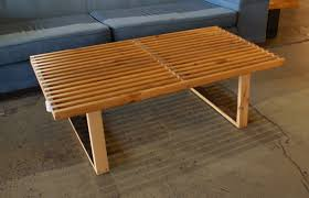 Growth Tables Custom George Nelson Style Old Growth Slat Coffee Table
