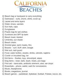 Vacation Checklist Printable Beach Packing List California Beaches