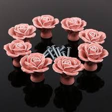 10pcs pink flower ceramic cabinet hardware for chest of drawers door s decorative rose porcelain