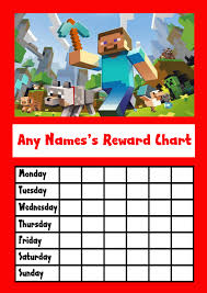 Minecraft Star Chart Red Minecraft Star Sticker Reward Chart Reward Chart Kids