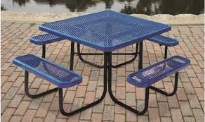 blue supersaver commercial square picnic tables
