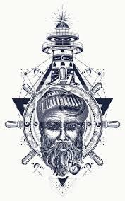 Fototapeta Starý Námořník Kotva Volant Kompas Maják Tetování Symbol