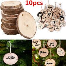 10 x wood tree ornaments props diy kids painting decor craft tags for