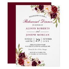 Dinner Invation Elegant Burgundy Floral Wedding Rehearsal Dinner Invitation