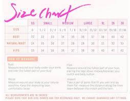 Pink Size Chart Size Chart The Slay Brand