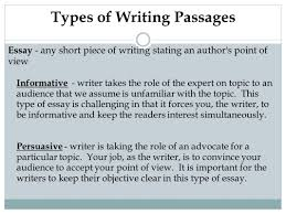 mrs adkins mr lewis prep for the writing ogt 4 types of writing passages essay