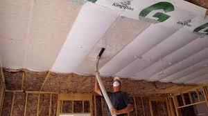 garage ceiling insulation. Exellent Insulation Insulation Being Blown In The Garage Throughout Garage Ceiling T