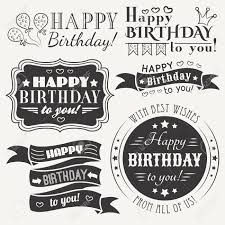Happy Birthday Greeting Card Collection In Holiday Design Retro