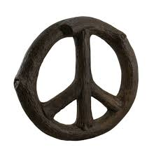 zeckos rustic tree branch wood look peace sign wall hanging