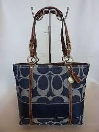 MINT COACH SIGNATURE BLUE JEAN NAVY DENIM BAG TOTE PURSE LEGACY STRIPE 11179