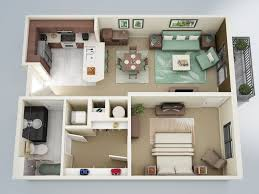 Bedroom   One Bedroom Apartment D Floor Plan With Small - Small apartment floor plans 3d