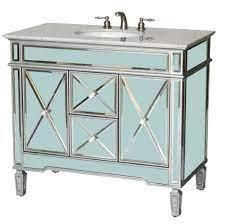 40 Inch Bathroom Vanity Art Deco Mirrored Style Silver Trims Carrara Top 40 Wx22 Dx36 H S5092