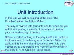 "the crucible  4 unit introduction "" the crucible"""