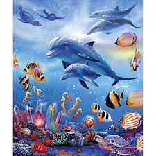 5d diy diamond painting kits dolphin fish sea scenery round square cross stitch