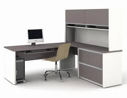 white gray solid wood office. White Office Desk With Hutch Awesome Modern L Shaped Gray Solid Wood Shelf H