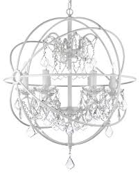 foucault s white wrought iron orb crystal chandelier fixture pendant traditional chandeliers