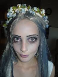 corpse bride makeup hair note blue flowers and painted on eyelashes