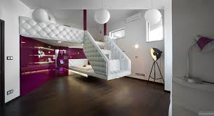 futuristic bedroom. futuristic bedroom hotel furniture ideas with floating chesterfield bed in white and patent fuscia shelves