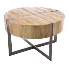 industrial style round coffee table with a deep table top with metal cross style and metal loading zoom