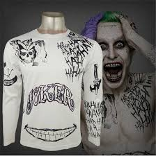 Suicide Squad Shirt Harley Quinn Joker Deadshot T Shirt Tattoo Printing Men Long Sleeve Shirt Batman Cosplay Top