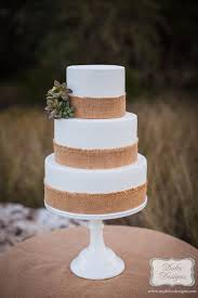 White Fondant Burlap Succulents Wedding Cake Dolce Designs