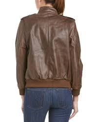 anine bing brown pilot leather jacket lyst