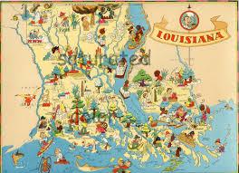 louisiana map original vintage s antique picture map
