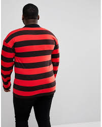 sixth june plus oversized rugby polo shirt in black with red stripes for men