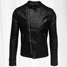 mens jacket synthetic leather leatherjacket faux leather black silver
