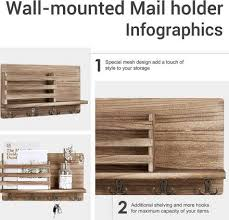 wall mounted mail holder wooden mail