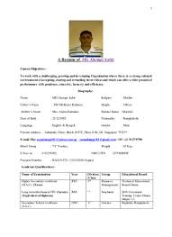 Resume of kabir md alamgir.