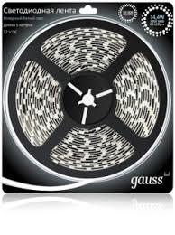 <b>Gauss Лента LED 5050/60</b>-<b>SMD</b> 14.4W 12V DC холодный белый ...