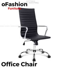 eames reproduction office chair. Eames Replica Executive Office Chair High Back - Black PU Leather Reproduction