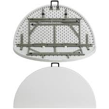 48 round bi fold granite white plastic folding table