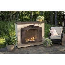 outdoor greatroom stone arch outdoor gas fireplace with fire glass lifestyle