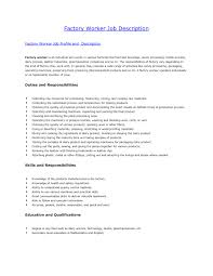 Resume Examples For Factory Workers Sample Resume Factory Worker Job
