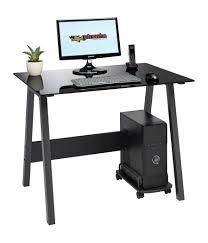 BARBEL Compact Black Glass Desk