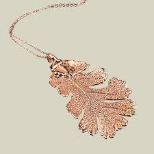 real oak leaf necklace rose gold plated