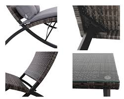 for phi villa patio 4 piece padded wicker lounge set folding rattan chairs outdoor furniture grey at whole on crov com