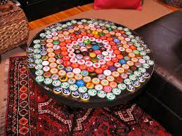 bottle cap table with poured resin surface bottle cap furniture