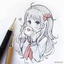 Tranh vẽ anime đẹp, đơn giản, dễ thương bằng bút chì